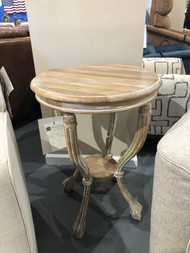 Round Whitewashed End Table