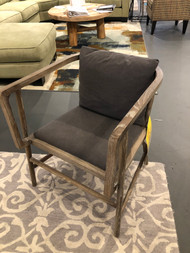 Wooden Accent Chair with Gray Upholstery