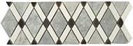 GT Glass Diamond Listello Mugworth, Thassos White, Basalt DS-570L