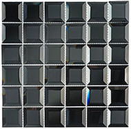 GT Glass Checkers Hematite Squares CKR112