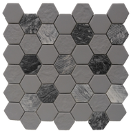 Roca Rockart Hexagon Grey Granite  12 x 12 Mosaic FWMGST2005