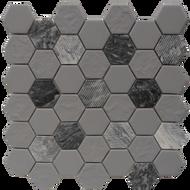 Roca Rockart Hexagon Grey Granite  12 x 12 Mosaic FWMGST2005