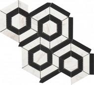 Roca Rockart Hexagon Black & White Marble 9 x 12 Mosaic USTMBWHX012