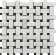Roca Rockart Basketweave Black & White Marble 12 x 12 Mosaic USTMBSWI003