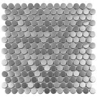 Roca Metals Silver Brushed Penny Round 12 x 12 Mosaic FWMSLPY-12M