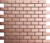 Roca Metals Rose Gold Brushed Brick 12 x 12 Mosaic FWMRGBR-12M