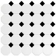Roca CC Mosaics Octagonal Snow White  & Black 12 x 12 Matte Mosiac UFCC101-12M