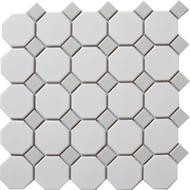Roca CC Mosaics Octagonal Snow White  & Gray Dot 12 x 12 Matte Mosaic UFCC112-12M