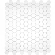 "Roca CC Mosaics Hexagon 1"" White 12 x 12 Matte Mosaic UFCC104-12M"