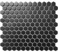 "Roca CC Mosaics Hexagon 1"" Black 12 x 12 Matte Mosaic UFCC114-12M"