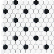 "Roca CC Mosaics Hexagon 1"" White & Black 12 x 12 Matte Mosaic UFCC105-12M"