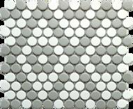 Roca CC Mosaics Penny Round Matte Gray & White 9 x 10 Mosaic UFCCGRW-12M