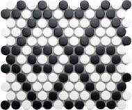 Roca CC Mosaics Penny Round Matte Black & White 9 x 10 Mosaic UFCCBLW-12M