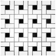 Roca CC Mosaics Pinwheel White & Black Dot Matte 12 x 12 Mosaic UFCC106-12M