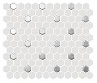 "Roca CC Mosaics Plus Hexagon 1"" White & Silver Matte 12 x 12 Matte Mosaic UFCCSLV-12M"