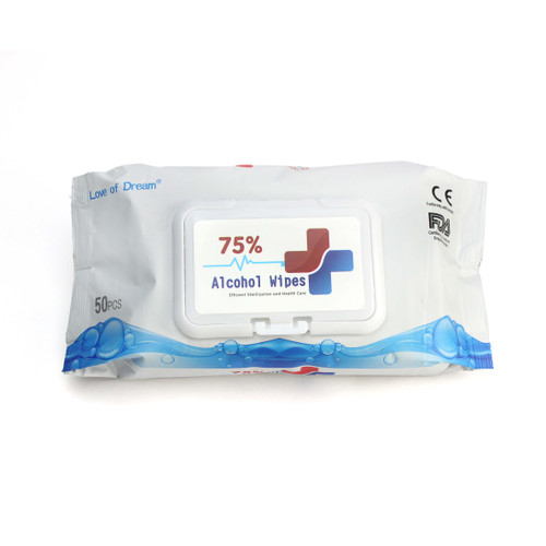 Dispenser Pack of 50 Sanitary Wipes. 75% Alcohol, made of on-woven fabric, pure water and alcohol. High quality non woven fabric, soft to touch. Wipes measure 150mm x 180mm. FDA Certified