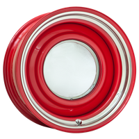 Pictured here in RED powder coat, 1009 Baby Moon cap and Plain Trim Ring