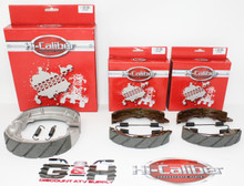 Complete Set of WATER GROOVED Front & Rear Brake Shoes & Springs for 1985-1987 Suzuki LT 230 Quadrunner ATVs