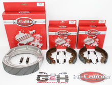Complete Set of WATER GROOVED Front & Rear Brake Shoes & Springs for 1985-1989 Suzuki LT 250 300 Quadrunner ATVs