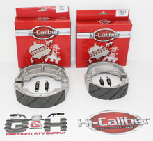 Front & Rear Sets of WATER GROOVED Brake Shoes +Springs for the Kawasaki KLT 110 160 185 200 250 3-wheelers