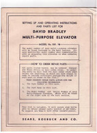 David Bradley Multi Purpose Elevator Model 352.15 Set up & Operation Manual original