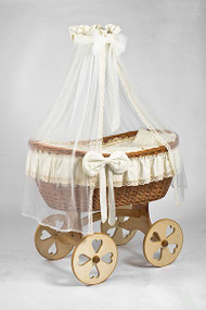 MJ Mark Ophelia Uno - Antique Cream - Heart Wheels - Wicker Crib