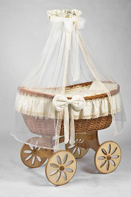 MJ Mark Ophelia Uno - Antique Cream - Spoke Wheels - Wicker Crib