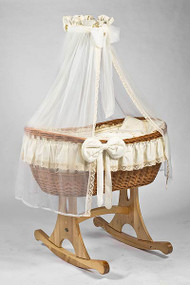 MJ Mark Ophelia Uno - Antique Cream - Rocker - Wicker Crib