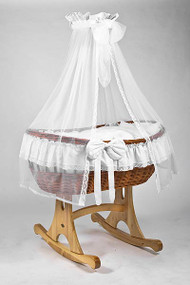 MJ Mark Ophelia Uno - Antique White - Rocker - Wicker Crib