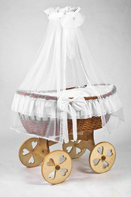 MJ Mark Ophelia Uno - Antique White - Heart Wheels - Wicker Crib