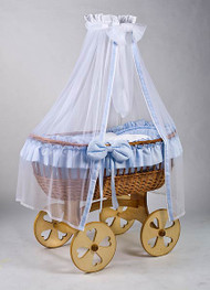 MJ Mark Ophelia Uno - Blue - Heart Wheels - Wicker Crib