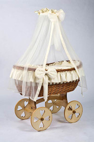 MJ Mark Ophelia Uno - Ivory - Heart Wheels - Wicker Crib