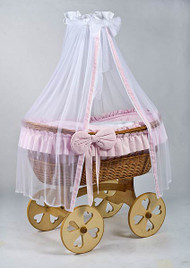 MJ Mark Ophelia Uno - Pink - Heart Wheels - Wicker Crib