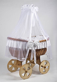 MJ Mark Ophelia Uno - White - Heart Wheels - Wicker Crib