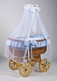 MJ Mark Ophelia Uno - Blue - Spoke Wheels - Wicker Crib
