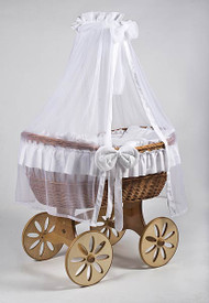 MJ Mark Ophelia Uno - White - Spoke Wheels - Wicker Crib