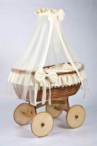 MJ Mark Ophelia Uno - Ivory - Solid Wheels - Wicker Crib