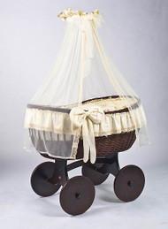 MJ Mark Ophelia Tre - Antique Cream - Solid Wheels - Wicker Crib