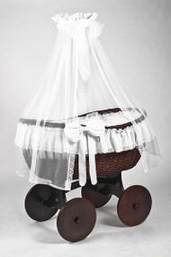 MJ Mark Ophelia Tre - Antique White - Solid Wheels - Wicker Crib