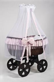 MJ Mark Ophelia Tre - Pink - Heart Wheels - Wicker Crib