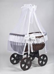 MJ Mark Ophelia Tre - White - Heart Wheels - Wicker Crib