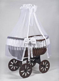 MJ Mark Ophelia Tre - White - Spoke Wheels - Wicker Crib