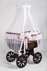 MJ Mark Ophelia Tre - Pink - Spoke Wheels - Wicker Crib