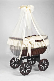 MJ Mark Ophelia Tre - Ivory - Spoke Wheels - Wicker Crib