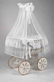MJ Mark Ophelia Due - Antique White - Spoke Wheels - Wicker Crib