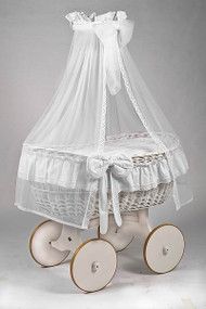 MJ Mark Ophelia Due - Antique White - Solid Wheels - Wicker Crib