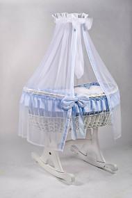 MJ Mark Ophelia Due - Blue - Rocker - Wicker Crib