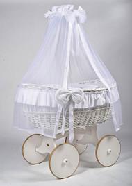 MJ Mark Ophelia Due - White - Solid Wheels - Wicker Crib