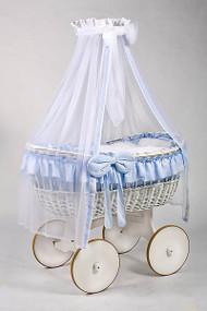 MJ Mark Ophelia Due - Blue - Solid Wheels - Wicker Crib