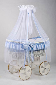 MJ Mark Ophelia Due - Blue - Heart Wheels - Wicker Crib